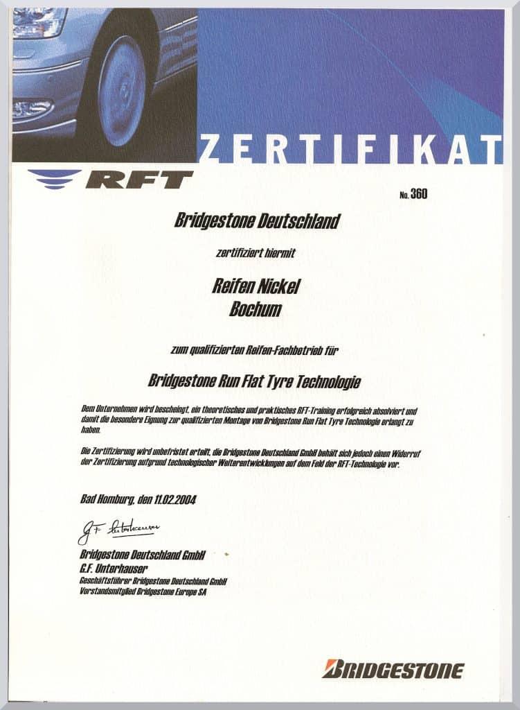 Zertifikat Bridgestone,