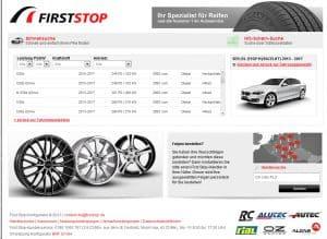 Alu Felgenkonfigurator First Stop mit Fahrzeugansicht